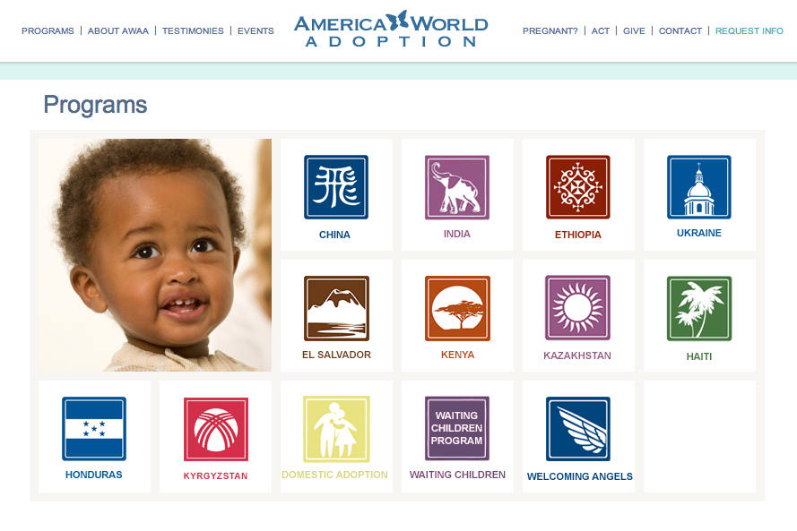 America World - adoption page