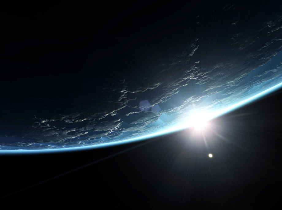 sunrise over earth from space